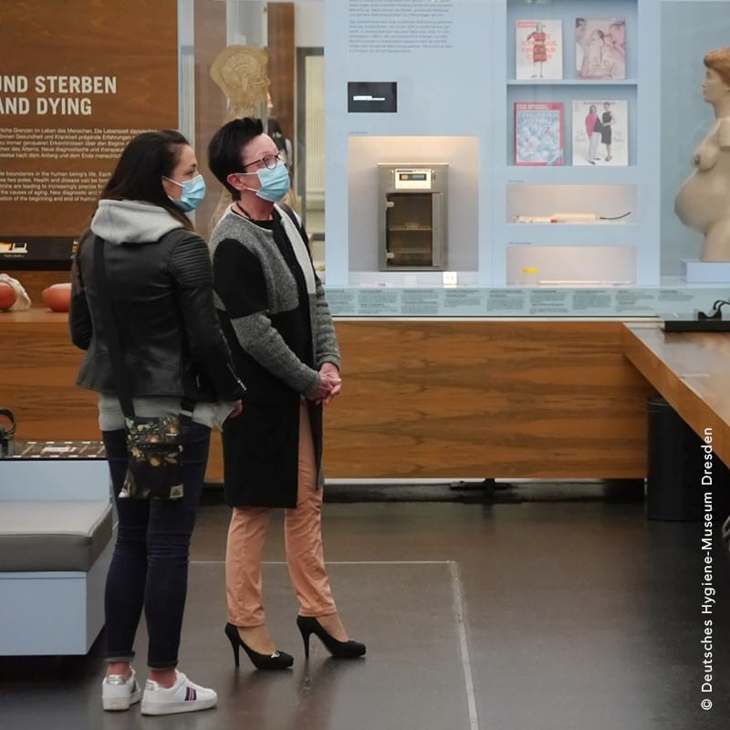 Visitors wearing masks at German Hygiene Museum