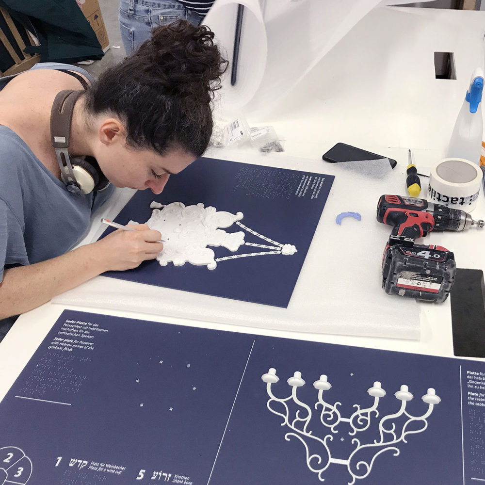 Christelle, model maker, finalizes one of the tactile objects for the museum - © Tactile Studio