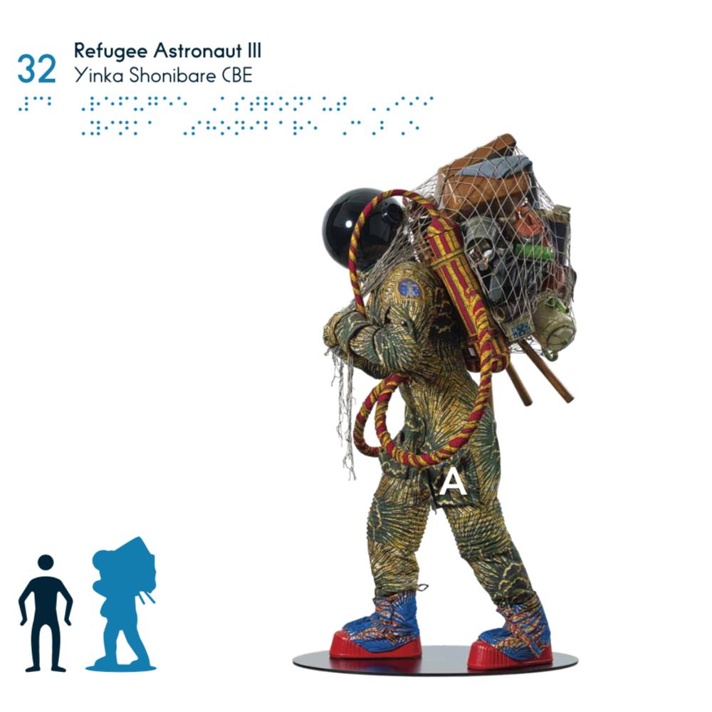 """Taktile Darstellung der Arbeit """"Refugee Astronaut"""" des Künstlers Yinka Shonibare, integriert in das taktile Booklet der Ausstellung - © Tactile Studio"""