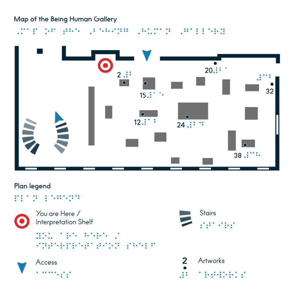 """Taktile Orientierungskarte der Ausstellung """"Being Human"""" integriert in das taktile Booklet - © Tactile Studio"""