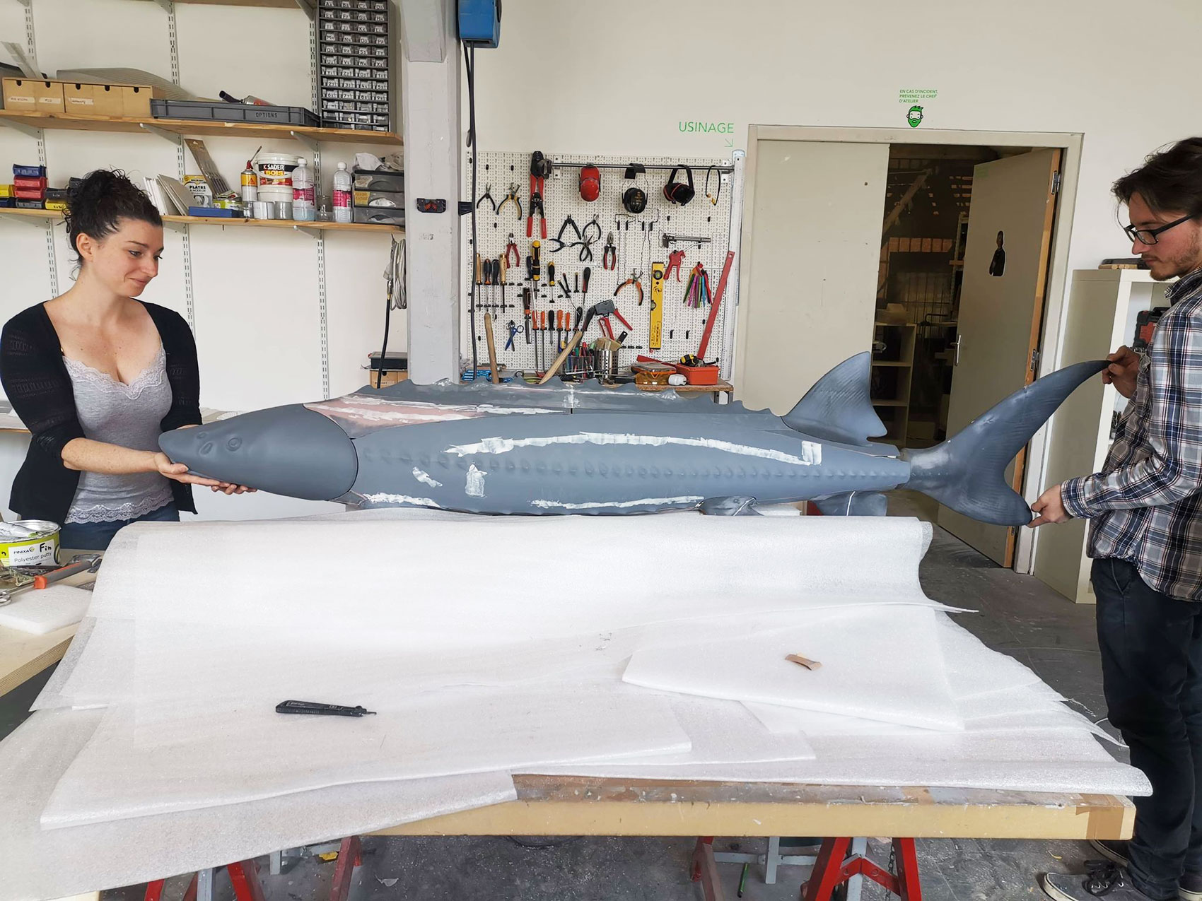 Christelle and Arthur assembling the big fish - © Tactile Studio