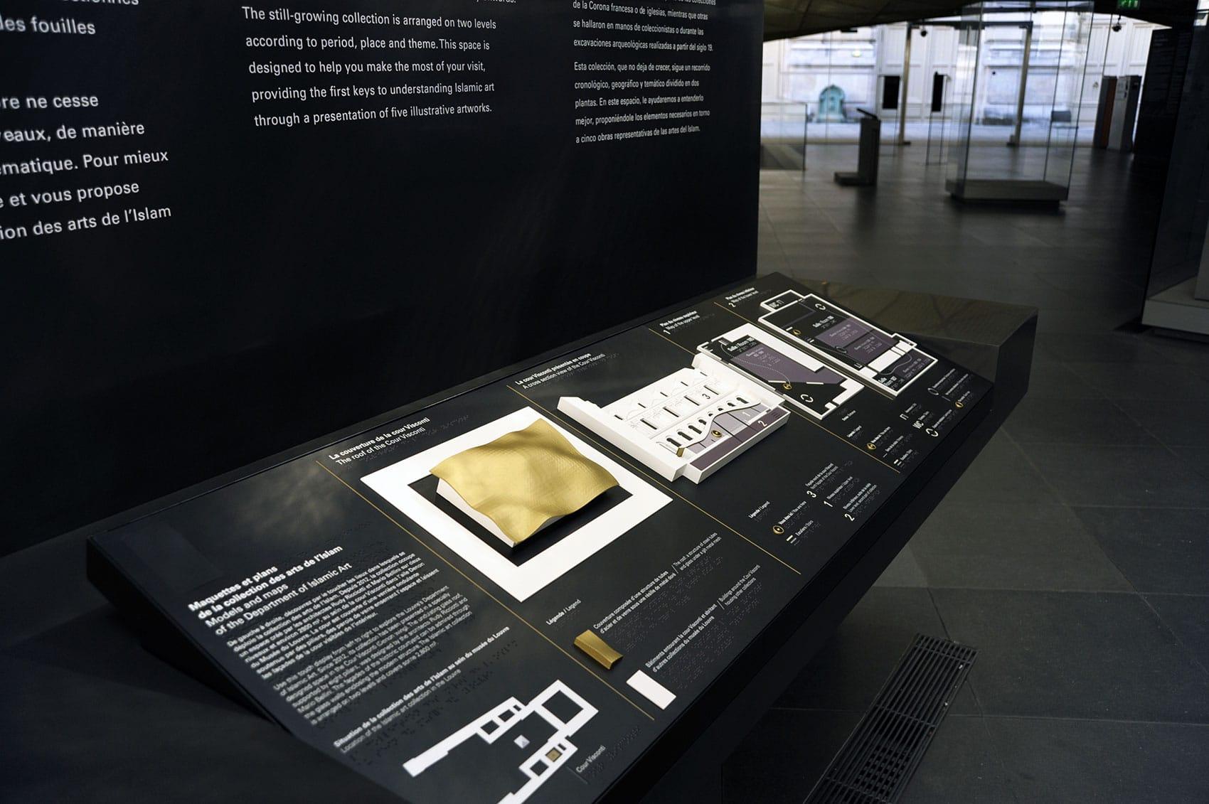 The 5 parts of the tactile station at the Département des Arts de l'Islam - © Tactile Studio
